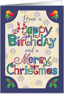 Birthday on Christmas, Hand Lettering, Balloons & Holly card