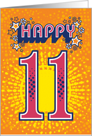 Happy 11th Birthday, Stars and Flowers card
