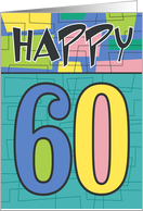 Happy 60th Birthday, Colorful retro design card