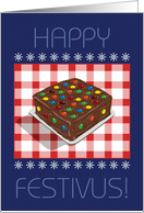 Chocolate Candy Decorated Festivus Cake card