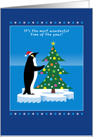 Merry Christmas, Penguin in Santa Hat, Decorating Tree card