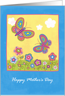 Happy Mother's Day, Butterflies and Flowers card