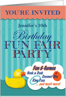 Fun Fair Birthday Party Invitation, Coconut Shy, Hook a Duck card