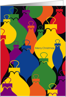 Pop Art, Colorful Christmas Ornaments, Merry Christmas card