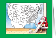Santa Political Map Naughty / Nice Humor Christmas Card