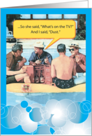 I Said Dust Funny Retro Poolside Men Father's Day Card