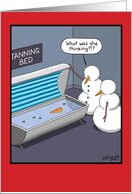 Snowman Tanning Bed card