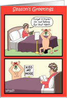 Kiss Nose Mistletoe Funny Card