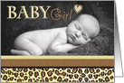 Baby Girl Leopard Print Photo Birth Announcement card