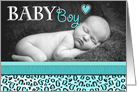 Baby Boy Blue Leopard Print Photo Birth Announcement card