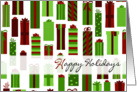 Green and Red Wrapped Presents Happy Holidays Card