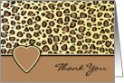 Thank You Leopard Print and Heart Blank Card
