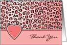 Thank You Pink Leopard Print and Heart Blank Card
