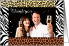 Wedding Thank You for the Gift Photo Card - Safari Animal Print card