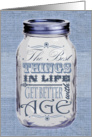 Rustic Mason Jar Birthday Card Blue - Things Get Better with Age card