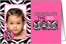 Cute Pink with Zebra Print First Birthday Photo Party Invitations card