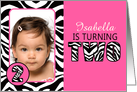 Cute Pink with Zebra Print Second Birthday Photo Party Invitations card