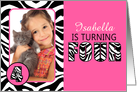 Cute Pink with Zebra Print Forth Birthday Photo Party Invitations card
