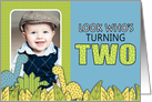 Cute Dinosaur Themed Second Birthday Party Photo Invitations card