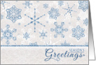 Elegant Blue & Silver Snowflake Glitz Season's Greetings Holiday Card