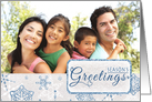 Elegant Blue & Silver Snowflake Season's Greetings Photo Holiday Card