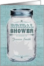Rustic Mason Jar Bridal Shower Invitation Blue card