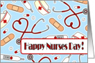 Cute Medical Supplies Happy Nurses Day Card - Blue card