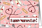 Cute Medical Supplies Happy Nurses Day Card - Pink card