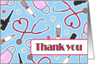 Cute Veterinarian Thank You Card Blue card