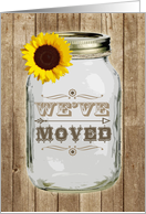 Rustic Mason Jar Sunflower We've Moved Announcement card