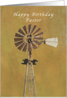 Happy Birthday Greetings, Old Fashioned Windmill, Pastor card