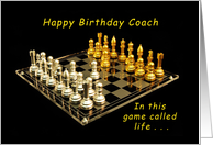 Happy Birthday Coach, in the Game of Life, Chess Set card