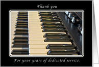 Thank You for your Years of Dedication, Pianist - Organist card
