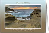Happy Birthday Grandfather, Lanai Shore on the Tropical Island of Oahu card