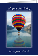 Happy Birthday, for a Great Coach, Hot Air Balloon, Alaska card