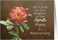 Happy 1st Anniversary for Son and Daughter in Law, Roses card