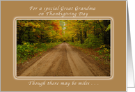 Happy Thanksgiving Day for a Special Great Grandma, Autumn Road card