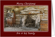 Merry Christmas, For a Son and his Family, Early American Log Home card