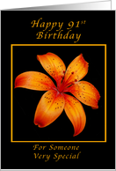 91st Birthday for Someone Special, Orange lily card