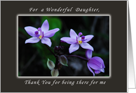 Thank You for a Daughter, Wild Purple Orchids card