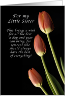 For my Little Sister, Happy Birthday wishes, Tulips card