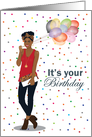 Birthday for her - Gorgeous and stylish black woman with balloons card