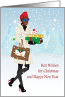Christmas for her - Gorgeous black woman walking in snow with gifts card