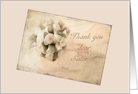 Wedding thank you Sister - Vintage rosebuds card