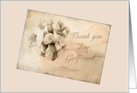 Wedding thank you Girlfriend - Vintage rosebuds card