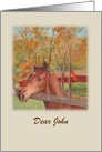 Friendship Birthday Illustrated Horse Red Barn card