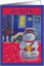 Save the Date Snowman Christmas Cottage Party Invite card