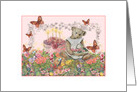 Illustrated Teddy Bear in Garden, Birthday Cake card