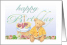 Illustrated teddy bear in garden, birthday cupcake card
