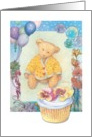 Illustrated cuddly teddy bear, birthday cupcake card